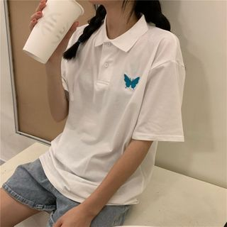 Image of Butterfly Short-Sleeve Polo Shirt