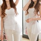 Chiffon Panel Ribbed Sleeveless Top 1596