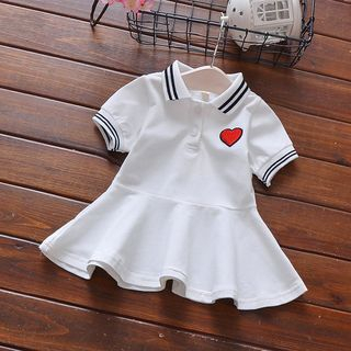 Image of Kids Embroidered Heart Short-Sleeve Collared Dress