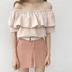 Off-shoulder Short-Sleeve T-shirt 1596