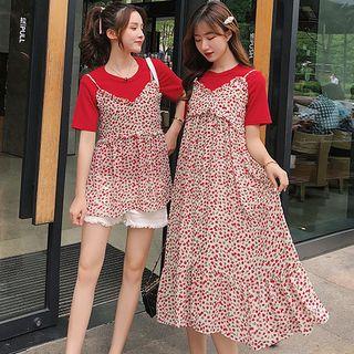 Image of Maternity Short-Sleeve T-Shirt / Plain Shorts / Spaghetti Strap Midi Floral Dress / Floral Camisole / Set