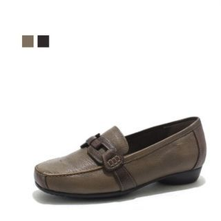 Image of Genuine Leather Buckle-Trim Loafers