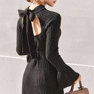 Tie-Back Ribbed Knit Dress 1062764179