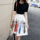 Set: Plain Short-Sleeve T-Shirt + Printed A-Line Skirt 1596