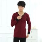 Pajamas Set: Piped-V-Neck Long-Sleeve Top + Pants Wine Red - 175 от YesStyle.com INT