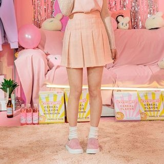 Check Pleated Mini Skirt 1058430810