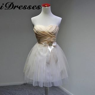 Strapless Ruched Tulle Bridesmaid Dress
