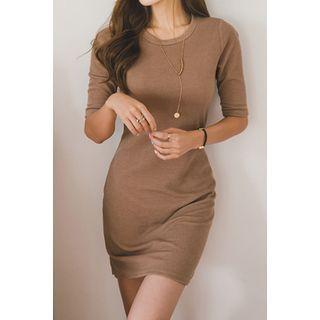 Round-Neck Ribbed Dress 1051578727