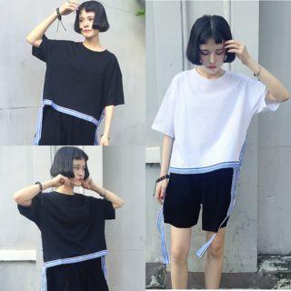 Slit Side Elbow-Sleeve T-Shirt 1052767869