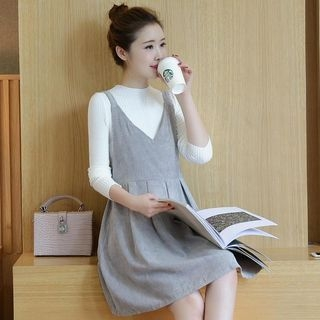 Maternity Set: Ribbed Sweater + Corduroy V-Neck Sleeveless Dress 1053266274