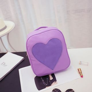Image of Transparent Heart Faux Leather Backpack