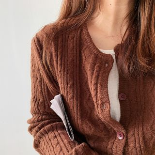 Image of Cable Knit Cardigan Coffee - One Size