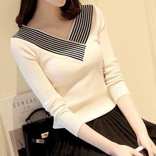 Stripe Trim Ribbed V-Neck Sweater 1057900545