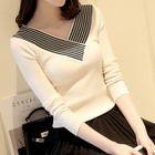Stripe Trim Ribbed V-Neck Sweater 1596