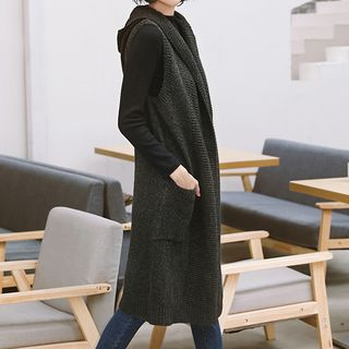 Image of Hooded Long Knit Vest