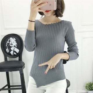 Ribbed Long-Sleeve Knit Top 1064079019