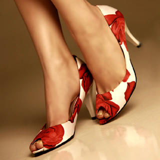 Buy Kvoll Peep-Toe Rose Print Pumps 1022453146