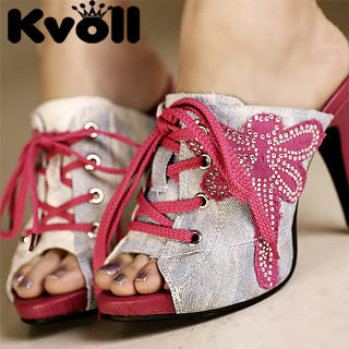 "Buy Kvoll Lace-Up Rhinestone ""Dragonfly"" Platform Mules 1023070684"