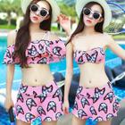 Set: Cat Print Print Bikini Top + Swimskirt + Cover-Up Top 1596