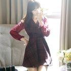 Chiffon-Sleeve Check Mini Dress 1596