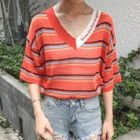 Striped Elbow Sleeve Knit T-Shirt 1596