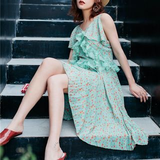 Spaghetti | Ruffle | Floral | Strap | Dress | Lace