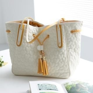 Picture of ALICE9 Tassel Accent Quilted Tote Bag 1022883767 (ALICE9, Tote Bags, Korea Bags, Womens Bags, Womens Tote Bags)