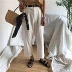 Plain High-Waist Loose-Fit Cropped Wide-Leg Pants 1596