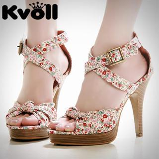 Buy Kvoll Floral Print Platform Sandals 1022532469