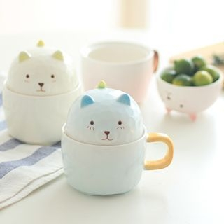 Cartoon Ceramic Mug with Lid 1061395373