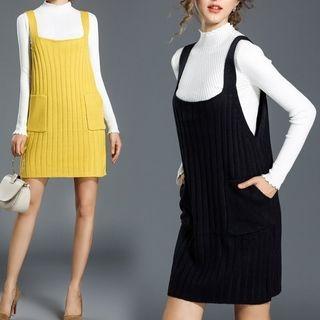 Set: Mock Neck Long-Sleeve Knit Top + Knit Pinafore Dress 1062957568