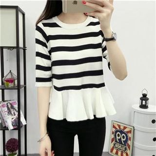 3/4-Sleeve Striped Knit Top Black White - One Size 1051125056
