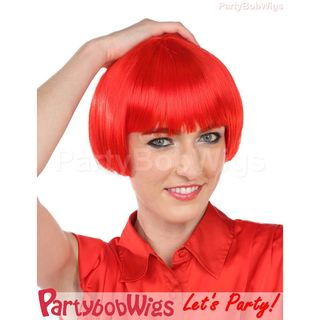Deluxe | Party | Neon | Size | Wig | Bob | One | Red