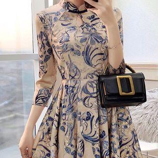 Rosewind Print 3/4-Sleeve Mandarin Collar A-Line Dress