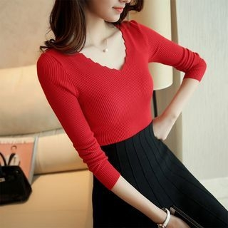 V-Neck Ribbed Knit Top 1053870658
