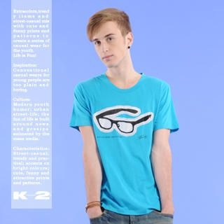 Picture of K*facto.2y Glasses Appliquéd Tee 1021113687 (K*facto.2y, Mens Tees, Hong Kong)