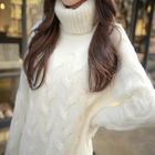 Turtleneck Cable-Knit Long Sweater 1596