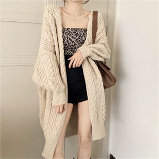 Long Open-front Cable Knit Cardigan Almond - One Size