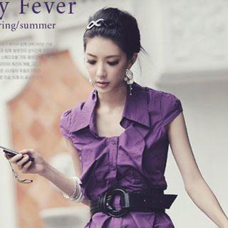 Buy Melissa Cap-Sleeve Ruffle Blouse Purple – One Size 1022973001