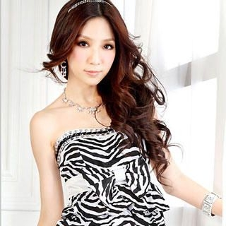 Buy Tian Mu Zebra Print Tube Dress 1023047031