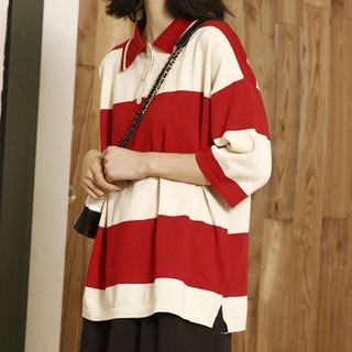 Stripe | Shirt | Polo | Size | Red | One