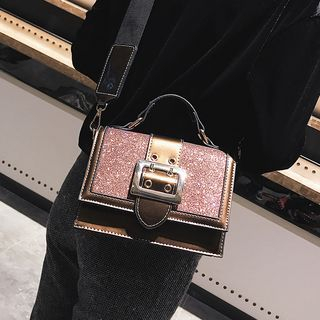 Buckled Sequined Crossbody Bag
