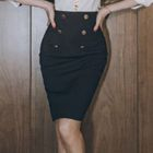 Double-Buttoned Pencil Skirt 1596