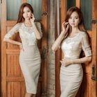 Elbow-Sleeve Lace Panel Sheath Dress 1596