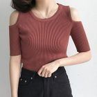 Ribbed Shoulder-Cutout Short-Sleeve Top 1596