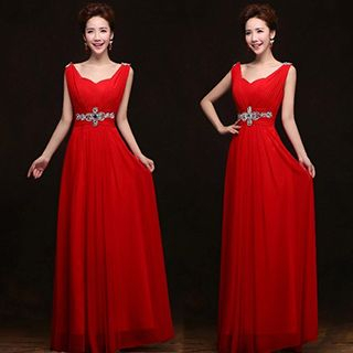 Sleeveless Embellished Floor-length Bridesmaid Dress