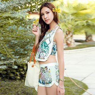 Set: Floral Print Bikini + Tank Top 1051479955