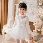 Kids Faux Pearl Lace Trim Long Sleeve A-Line Dress 1596