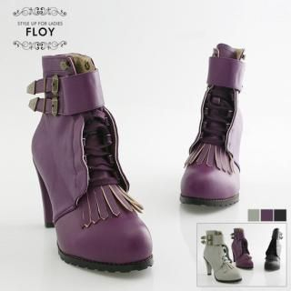 Buy FLOY SHOES Ankle Belted Fringed Ankle Boots 1023059029
