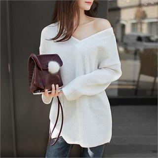 V-Neck Drop-Shoulder Knit Top 1054007663